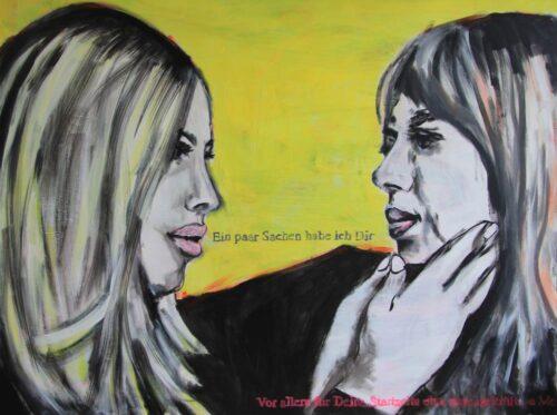 Modernes Pop Art Bild. Mit Acryl gemaltes Leinwandbild im 70er Jahre Stil.