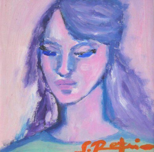 Porträt Gemälde. Handgemaltes Acrylbild. Bild mi Frau. Sanftes Acrylgemälde.