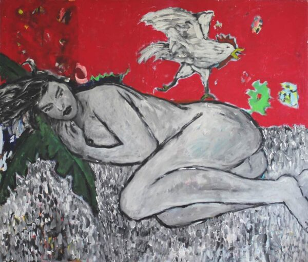 Rotes Bild. Großes Leinwandbild XXL. Gemaltes Acrylbild. Frauen Akt.
