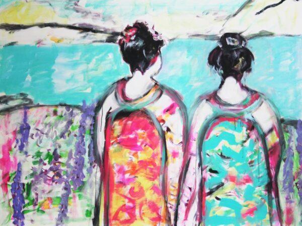 Wandbild Schlafzimmer. Kunstdruck von gemaltem Wandbild. Modernes Leinwandbild.