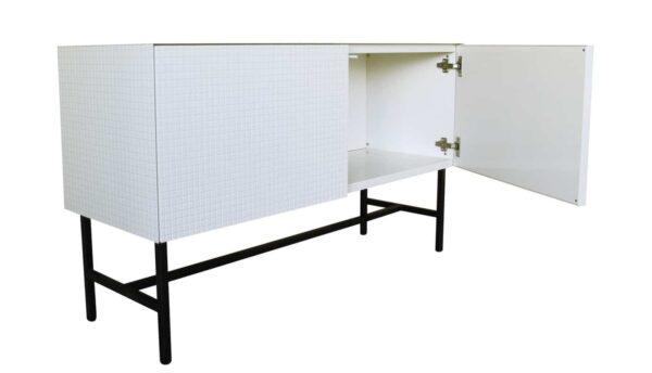 Sideboard weiß. Moderne Designer Kommode. Mosaik Design.