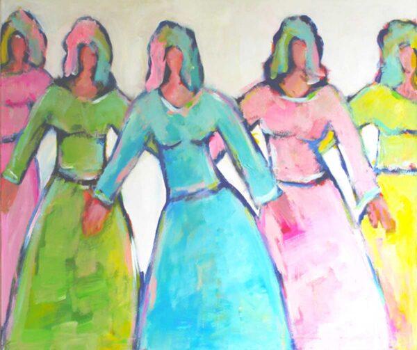 Wohnzimmer Bild. Buntes Leinwandbild XXL. Tanzende Frauen mit Acryl gemalt.