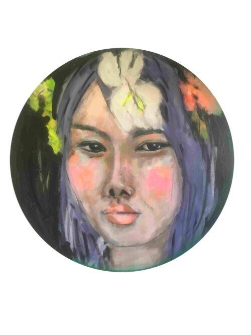 Gemaltes Kunst Bild. Modernes Gemälde. Rundes Acrylbild. Frauen Portrait.