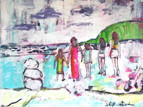 Abstrakt Gemälde.Gemaltes Acrylbild. Frauen und Kinder am Strand.