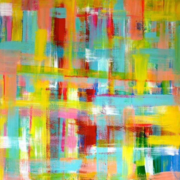 Abstrakte Kunst. Farbenfrohes Wandbild XXL. Großformatiges Acryl Bild.