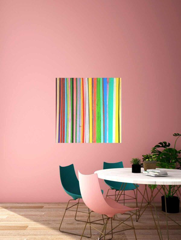 Abstrakte Malerei. Gemaltes Acrylbild mit Linien. Leinwandbild.