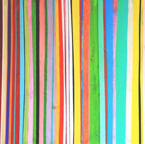 Moderne abstrakte Malerei. Gestreiftes Wandbild. Buntes Acrylbild.