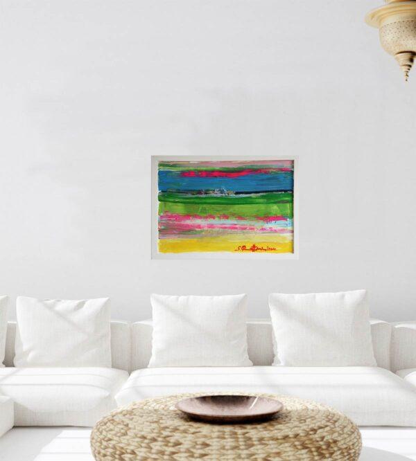 Modernes abstraktes Acrylbild Gemälde. Mit großzügigen Pinselstrichen gemaltes Bild.