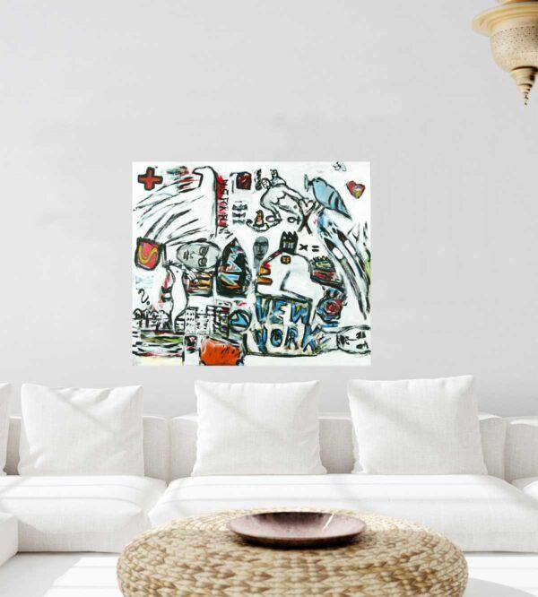 Abstraktes Wandbild XXL. Großes Leinwandbild XXL. Gemaltes Acrylbild.