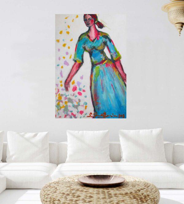Farbenfrohes Acryl Gemälde. Modernes Acrylbild mit Frau. XXL Bild.