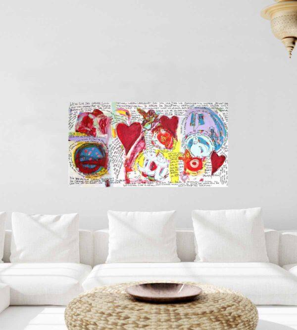 Acrylbild abstrakt mit rotem Herz Motiv. Gemaltes Leinwandbild XXL.