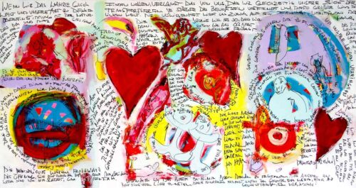 Acrylbild abstrakt gemalt. Leinwandbild XXL mit Herzbild Motiv.