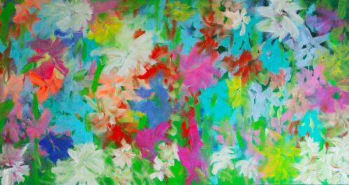 Acrylbild Blumen. Florales Gemälde. Farbiges abstraktes Wandbild.