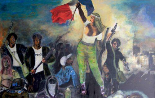 Acrylbild modern. Leinwandbild gemalt. Inspirierte von klassischem franz. Gemälde.