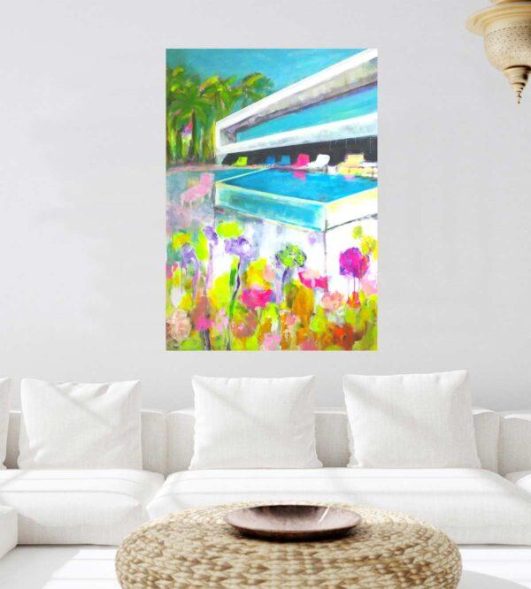 Acrylbild von handgemalt. Bild auf Leinwand. Blumen, Blüten, Bauhaus.