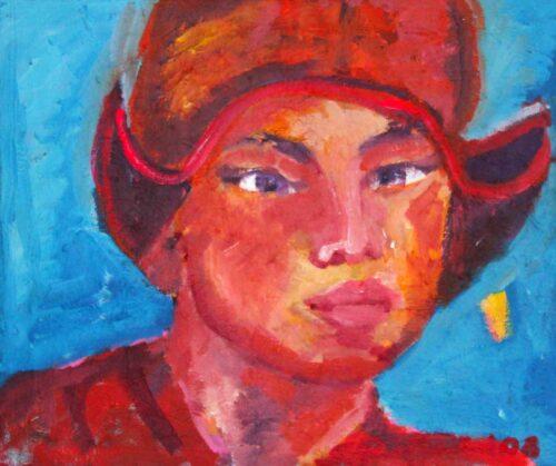 Modernes Acrylgemälde. Handgemaltes Acrylbild mit Orange, rot, blau.