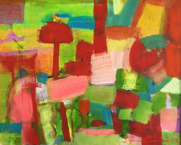Acrylmalerei abstrakt. Gemaltes Bild. Modernes Acrylbild. Rot. Grün. Orange.