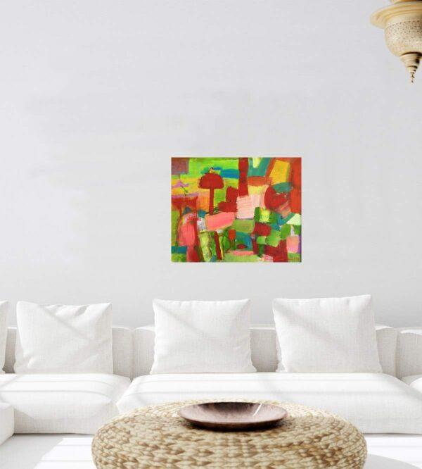 Acrylbild abstrakt gemalt. Kunst Bild modern. Farbenfrohe Acrylmalerei.