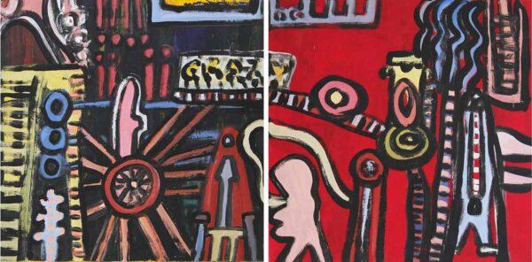 Bild abstrakt. Handgemaltes Gemälde. 2-teiliges Leinwandbild.