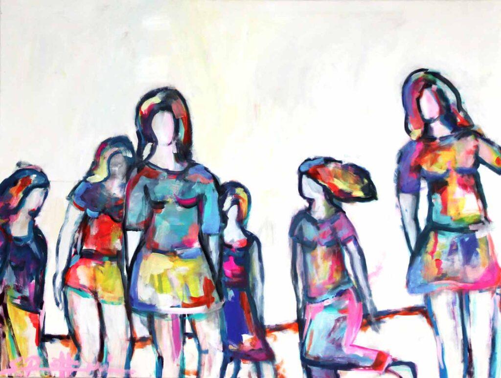Bild modern. Abstrakt gemaltes Wandbild XXL. Tanzende Frauen.
