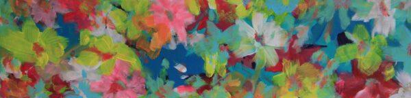Abstraktes Blumen Gemälde. Modernes Leinwandbild. Gemaltes Wandbild.