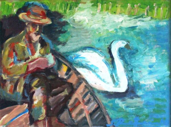 Modernes Gemälde. Handgemaltes Acrylbild mit Boot auf dem Wasser.
