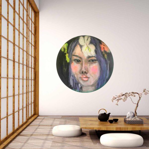 Kunst Bild. Rundes Gemälde. Handgemaltes Acrylbild. Frauen Portrait.