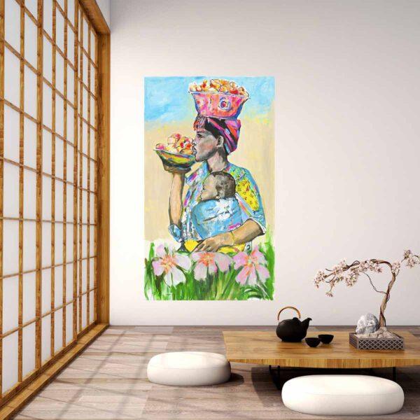 Großes Bild für Wohnzimmer. Farbenfroher Kunstdruck. Afrika Motiv. Modernes Wandbild XXL