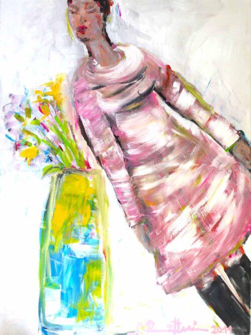 Großes Bild Wohnzimmer. Wandbild XXL. Modernes Bild mit Frau.