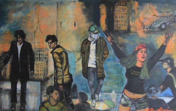 roßes Gemälde. Modernes Leinwandbild XXL. Gemaltes Wandbild XXL.