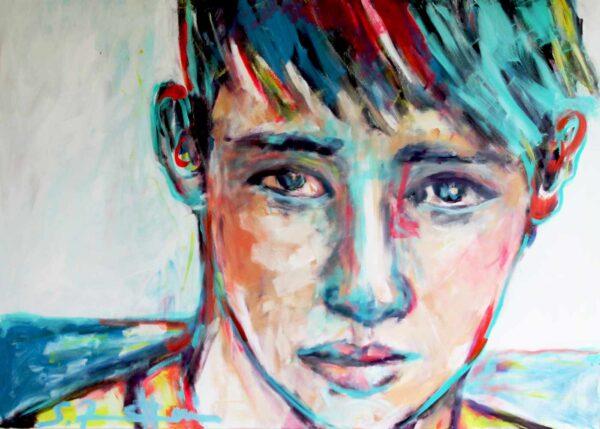 Großes Leinwandbild. Kunstdruck. Kunstkopie von Acryl Gemälde. Modernes Porträt.