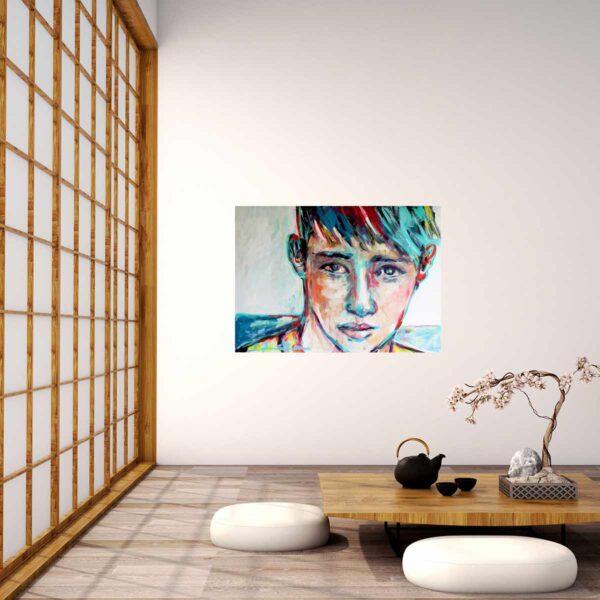 Großes Leinwandbild. Kunstdruck von gemaltem Bild. Modernes Porträt Gemälde.