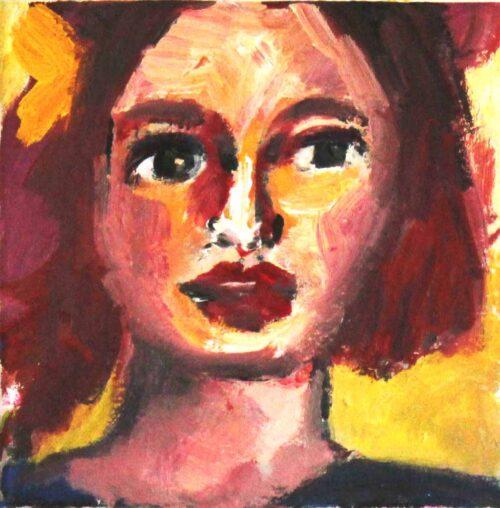 Handgemaltes Bild auf Leinwand. Modernes Acrylbild. Frauen Porträt.