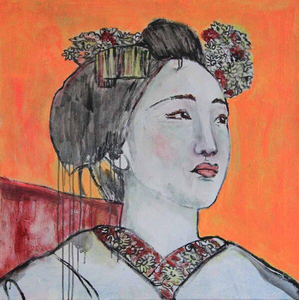 Gemaltes Wandbild. Leinwandbild asiatisches Motiv. Unikat. Acrylbild.