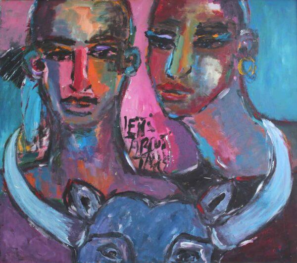 Künstler Malerei. Acrylbild Gemälde mit Mann, Frau, Stier. Violett, Lila, dunkelblau.