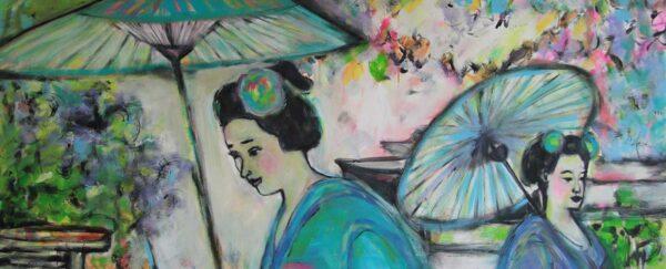 Kunst Malerei. Gemaltes Bild. Modernes Acrylbild. Frauen, Blumen, Blüten.