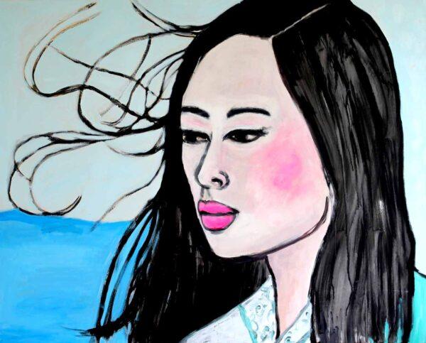 Kunstdruck auf Leinwand. Pop ART Frauen Portrait. Blau Töne, rosa, pink.
