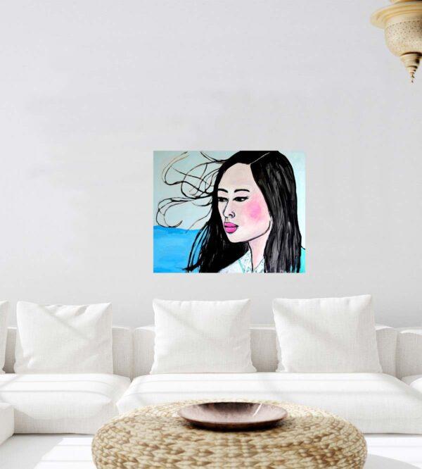 Moderner Kunstdruck auf Leinwand Frauen Portrait im Pop ART Style.