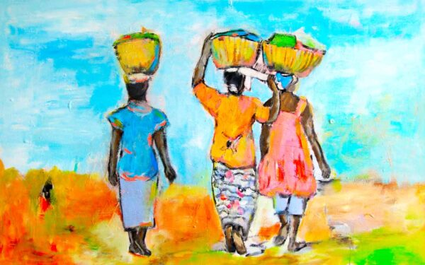 Kunstdruck. Buntes Leinwandbild. Wandbild mit Farben Afrikas.