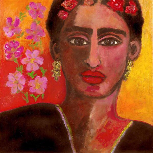 Kunstkopie. Frida K. Kunstdruck auf Leinwand. Porträt Bild.