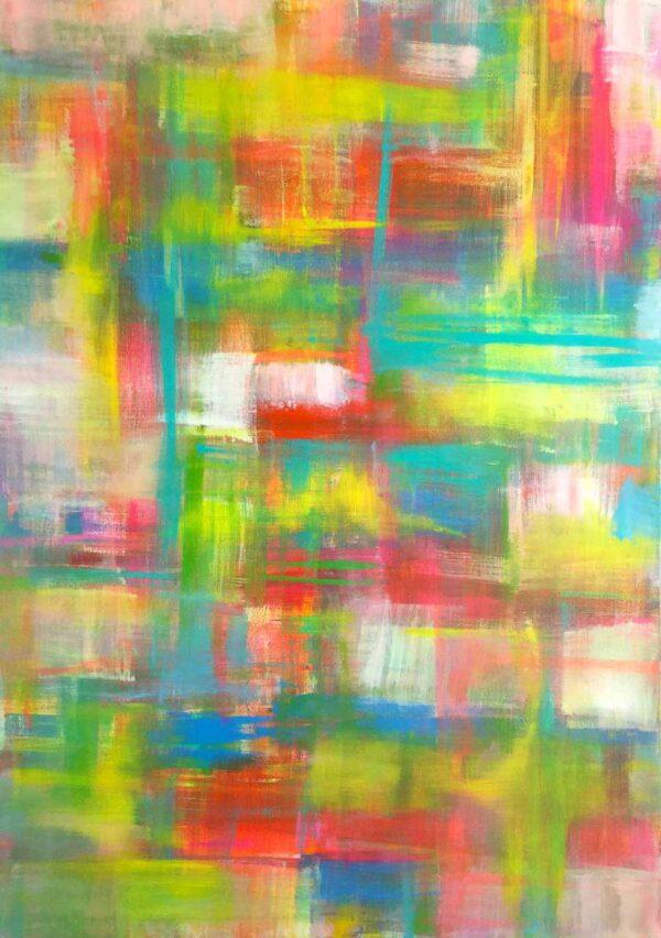 Leinwandbild abstrakt. Acrylbild bunt kreuz und quer gemalt.