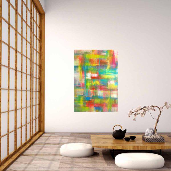 Leinwandbild abstrakt. Kreuz und quer gemalt. Modernes Acrylbild.