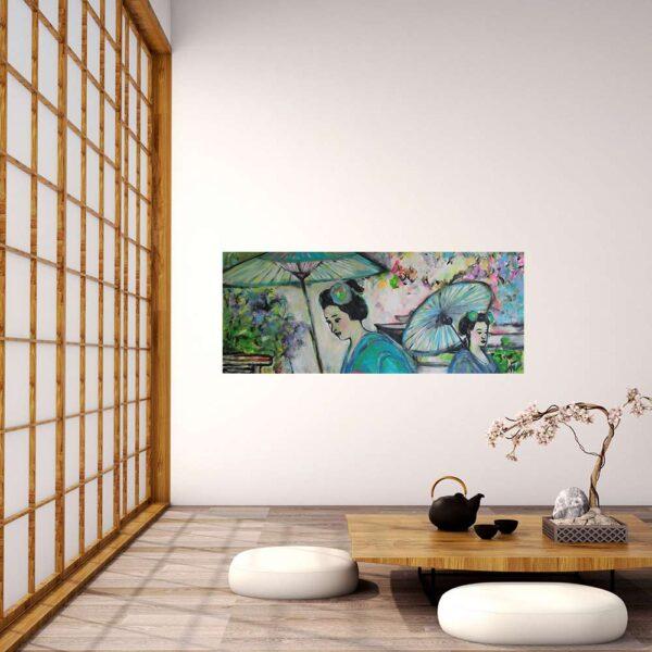 Kunst Malerei mit Asien Motiv. GemaltesBild. Leinwandbild Blumen und Blüten.