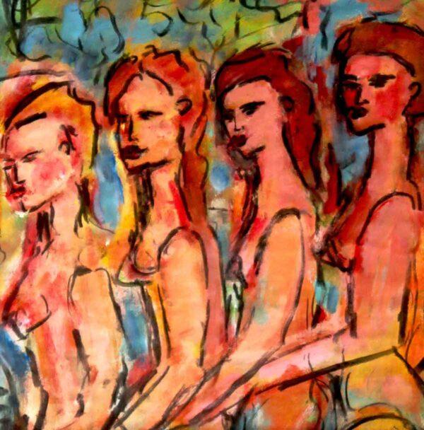 Moderne Malerei. Gemaltes Acrylbild. Abstrakt angehauchtes Gemälde.