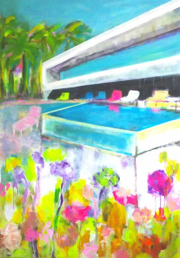 Modernes Bild für Wohnzimmer. Gelbe, orange, rote, pink farbige Blumen und Blüten. Bauhaus Motiv mit Swimmingpool als gedrucktes Bild auf Leinwand. Leinwanddruck Bild auf Keilrahmen gespannt.