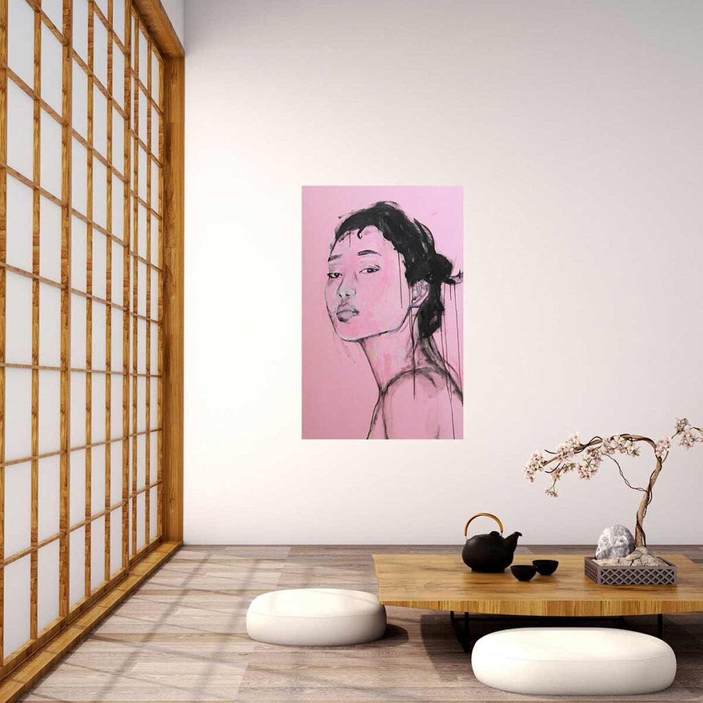 Modernes Bild. Gemaltes Wandbild. Leinwandbild Porträt mit Frau.