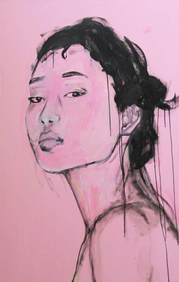 Modernes Bild. Gemaltes Wandbild Porträt mit Frau. Leinwandbild Wohnzimmer.