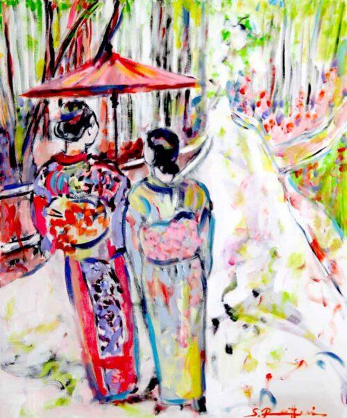Modernes Gemälde. Zarte Farben, Frauen. Gemaltes Bild. Acrylbild.