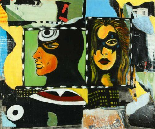 Modernes Kunst Bild. Zeitgenössisches Acryl Gemälde. Modern Art Comic.
