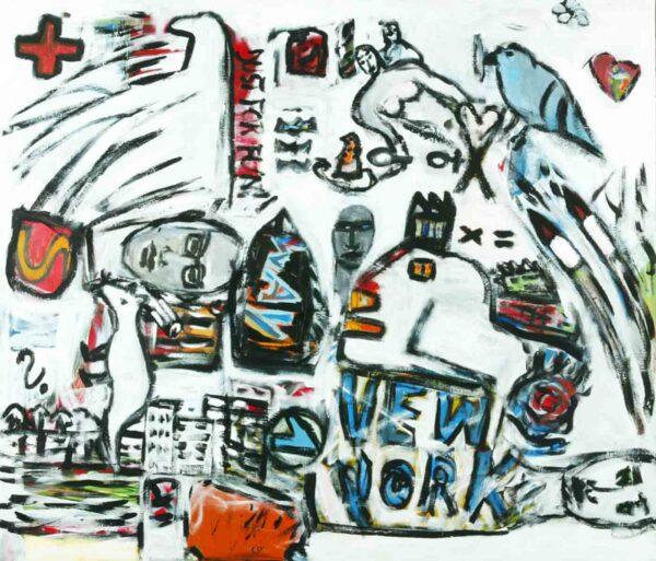Wandbild abstrakt gemalt. Modernes Acrylbild. Leinwandbild XXL
